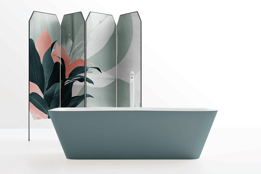 Vasca da bagno Cerasa Solid Surface e paravento con rivestimento Des