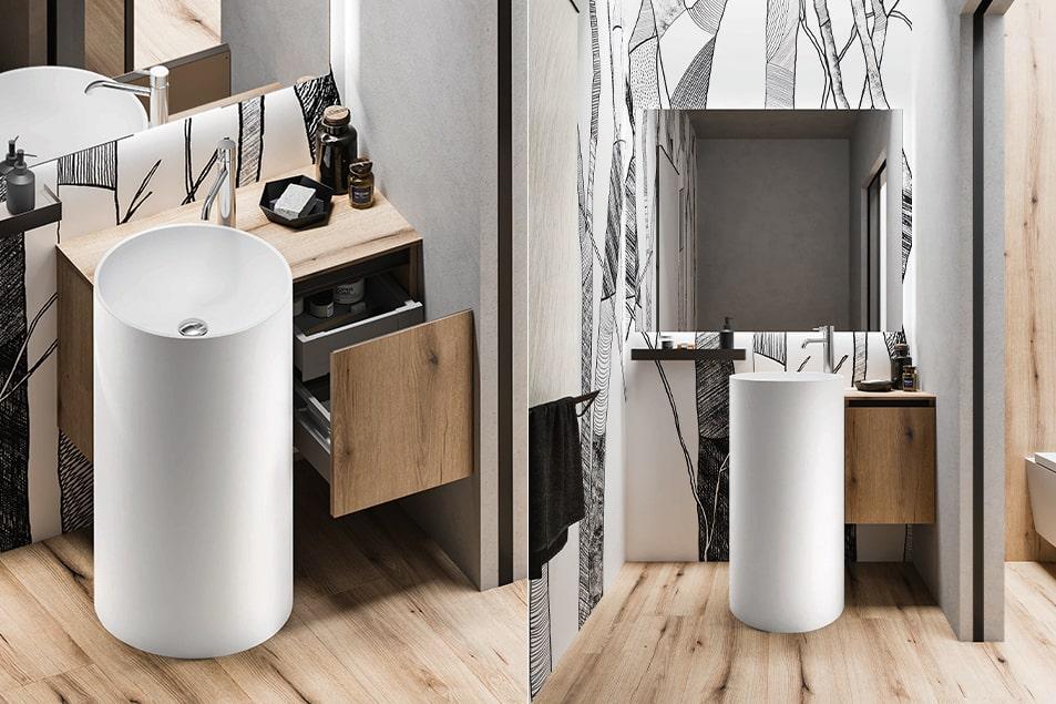 Cerasa, lavabo a colonna, personalizzabili sulla superficie esterna, posizionabili a centro stanza o a parete