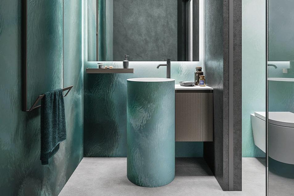 Lavabo a colonna verde variegato di Greenglass